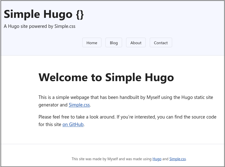Screenshot of the Simple Hugo homepage