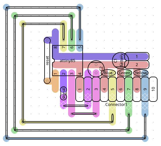 The layout of the components on the perfboard/veroboard as planned out using the VeroRoute tool.